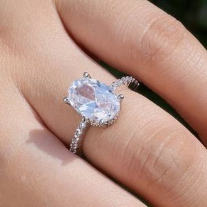New! 5CT Oval Cut White Sapphire 925 Ring